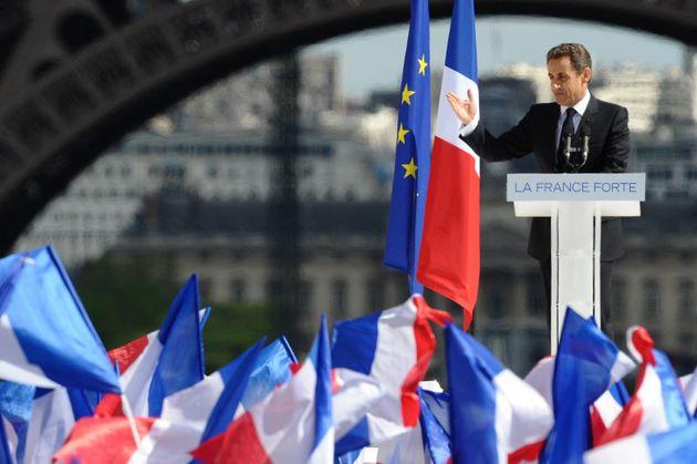 Nicolas Sarkozy lors de son meeting du Trocadéro lors de la campagne de