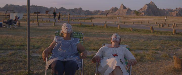 "Linda May and McDormand in ""Nomadland."""