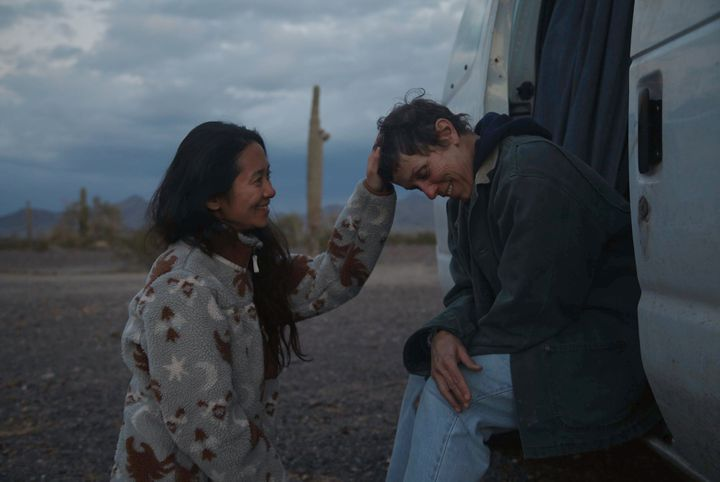 "Chloé Zhao and McDormand on the set of ""Nomadland."""