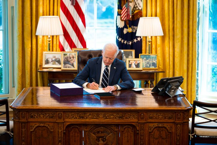 WASHINGTON, DC - MARCH 11: U.S. President Joe Biden participates in a bill signing in the Oval Office of the White House on M