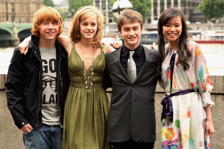 """Rupert Grint, Emma Watson, Daniel Radcliffe and Katie Leung pose at the photocall for """"Harry Potter and the Order of the Phoe"""