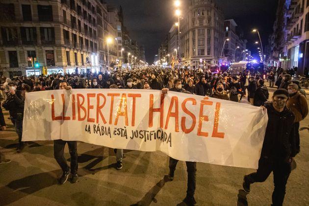 Manifestación por la libertad del rapero Pablo Hasél en