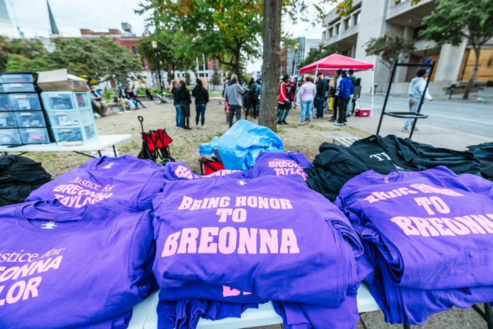 T-Shirts for sale mentioning Breonna Taylor on a table in Jefferson Square Park on Oct. 1, 2020 in Louisville, Kentucky.