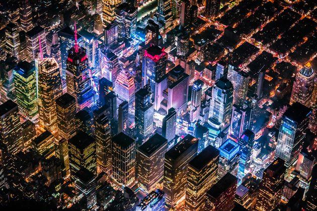 Times Square vista de noche desde un