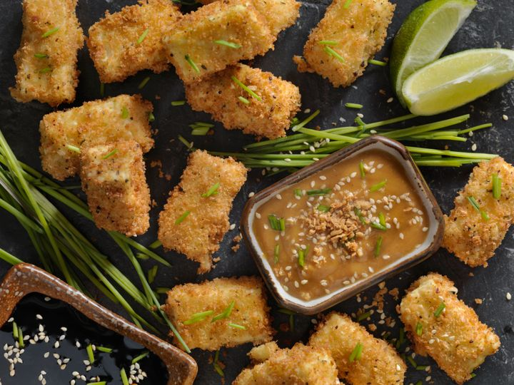 Breaded tofu is a great plant-based dish to make in an air fryer.