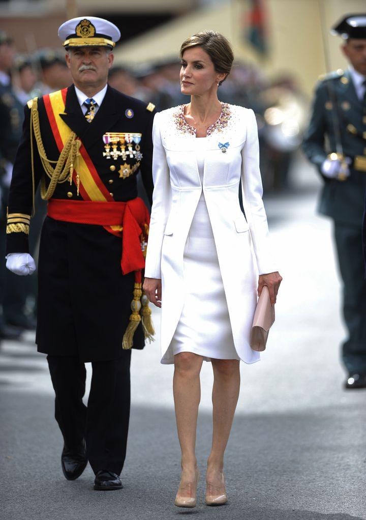 La reina Letizia en el acto de honor de la Guardia Civil celebrado en Vitoria en mayo de 2015.