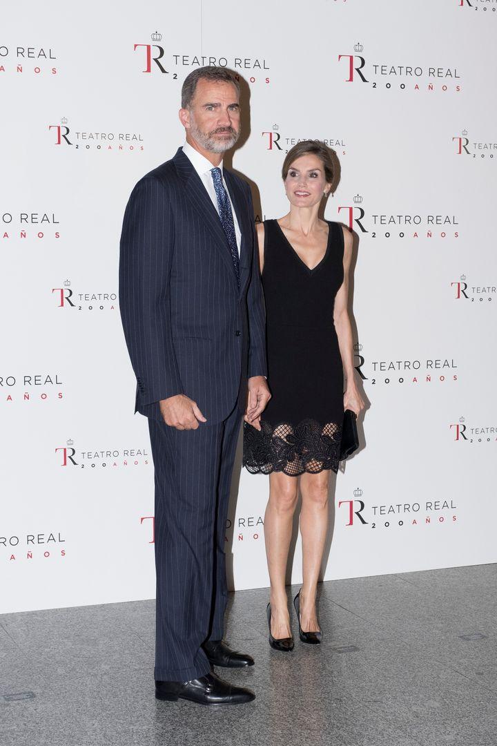 La reina Letizia y Felipe VI en la inauguración de temporada del Teatro Real.