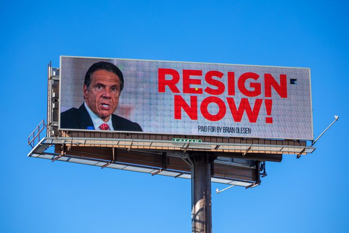 A billboard urging New York Gov. Andrew Cuomo to resign in Albany, New York.