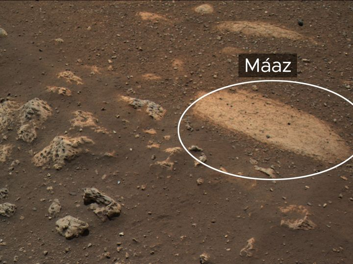 "A rock, named ""Máaz"" (the Navajo word for Mars), currently under study by NASA's Perseverance Mars r"