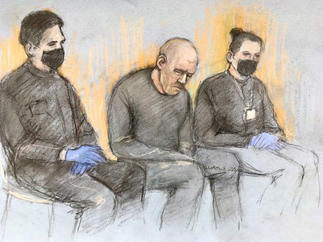 Court artist sketch by Elizabeth Cook of serving police constable Wayne Couzens (centre), appearing in...