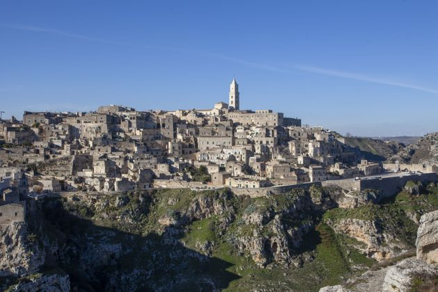 MATERA, ITALY - DECEMBER 23: A view of Matera from the park of the rock churches on December 23, 2020...