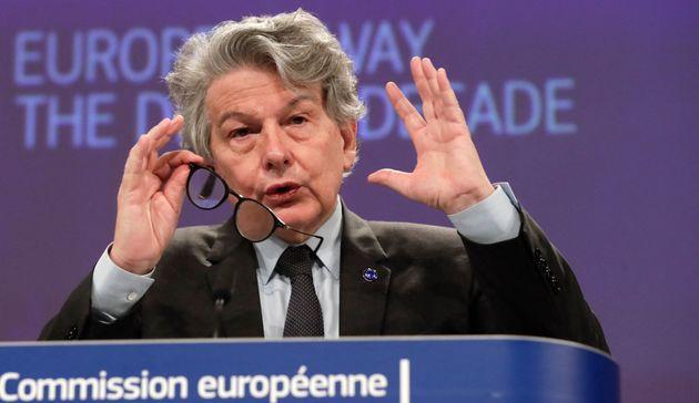Thierry Breton lors de la présentation de son plan numérique d'ici 2030,le 9 mars 2021 à Bruxelles (Photo