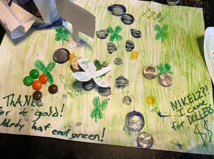 The author's daughter's leprechaun trap from St. Patrick's Day, 2020, on which a cheeky leprechaun left his correspondence an