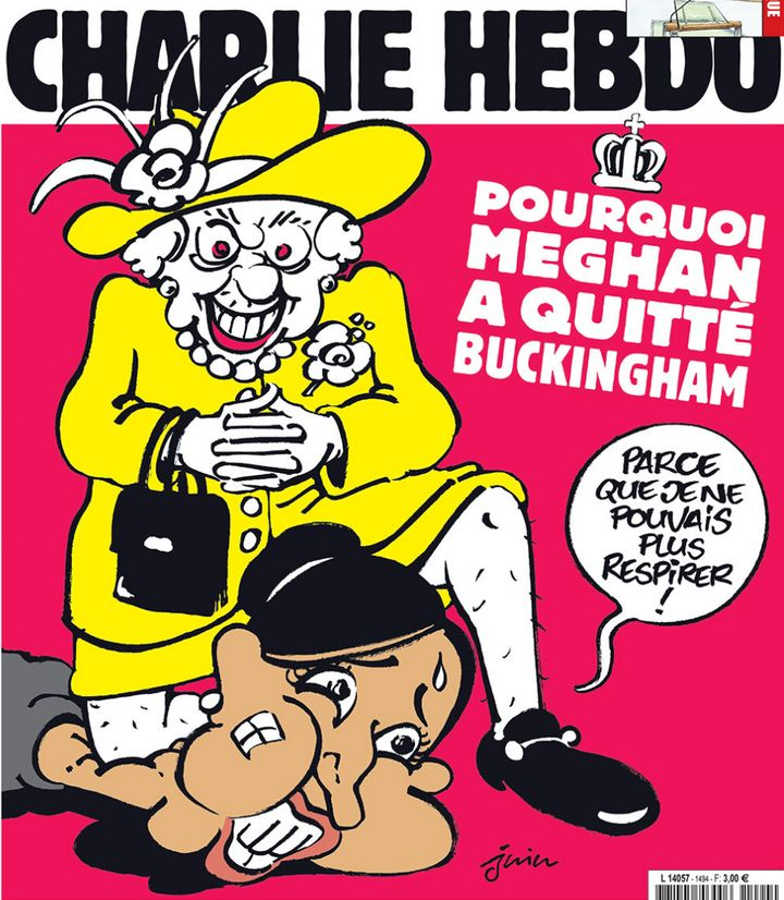 """The cover of Charlie Hebdo. The speech bubble coming from the figure meant to depict Meghan Markle says, """"Because I couldn't"""