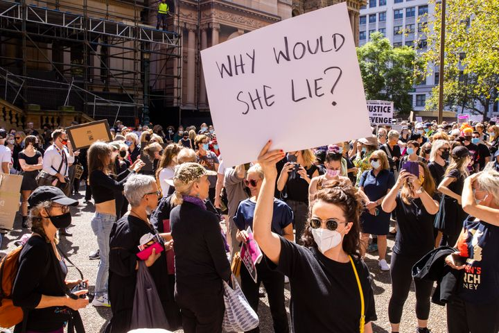 Protesters gather at Sydney's Town Hall on March 15, 2021 as part of the March4Justice demonstrations.