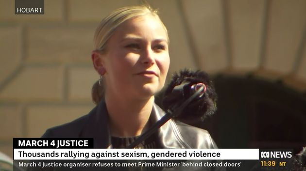 Sexual assault survivor Grace Tame spoke at the Hobart March4Justice rally.
