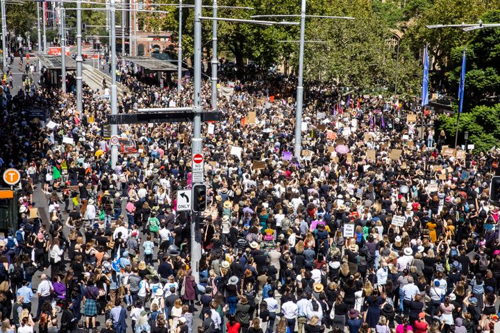 Crowds at Sydney's Town Hall at the March4Justice protest on March 15, 2021.