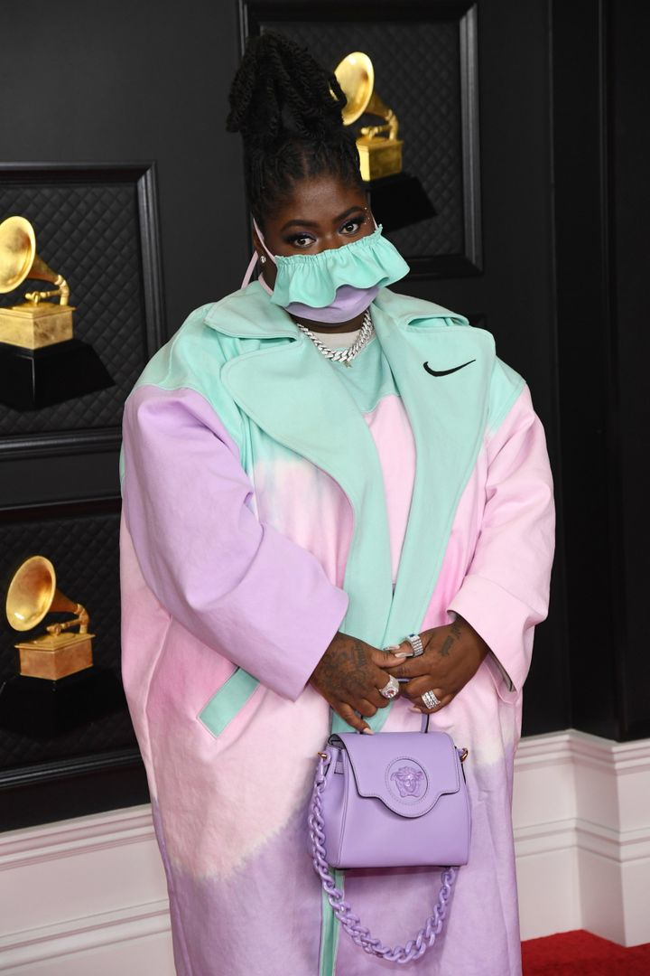 Chika takes the pastel theme a notch above in her look for the Grammy Awards on Sunday in Los Angeles.