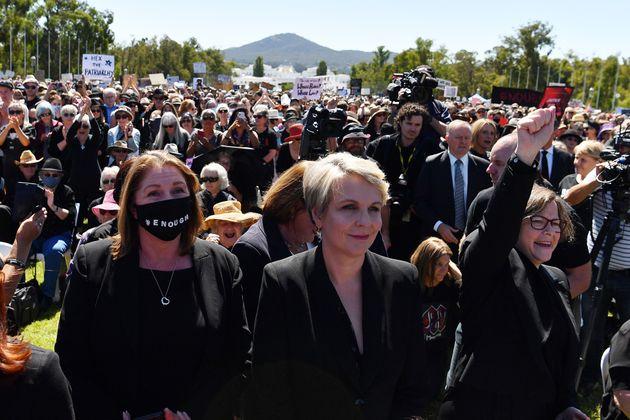 Member for Sydney Tanya Plibersek outside Parliament House on March 15, 2021 in Canberra, Australia.