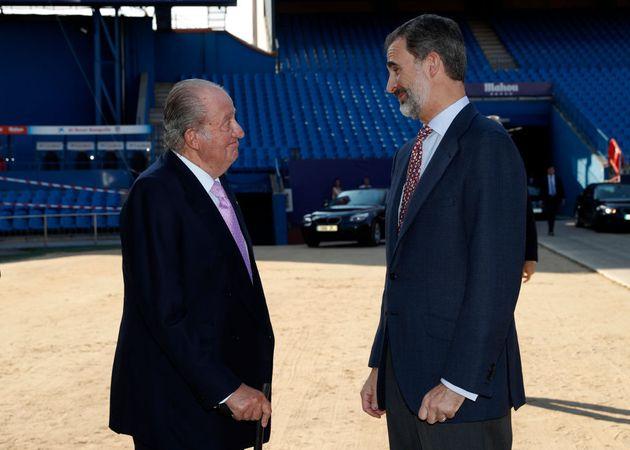 Juan Carlos I y Felipe VI, en la presentación del informe COTEC, en