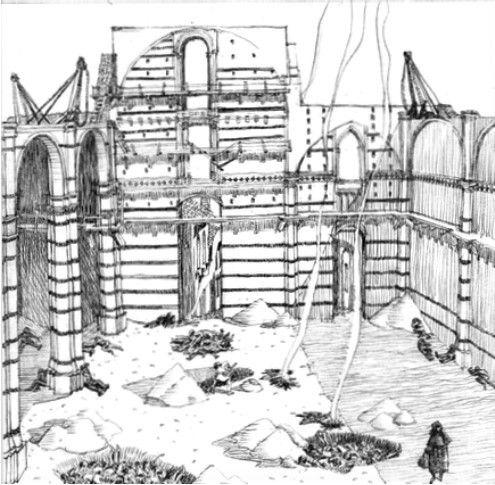 Il Duomo di Siena in costruzione ai tempi della peste nera del 1348(illustrazione di Giovanni