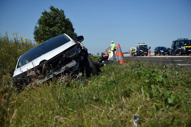 Un accident de voiture sur l'A10 à Saint-Epain dans le centre de la France. Image