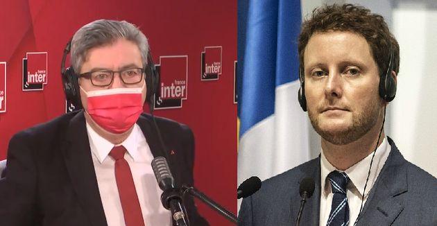 Jean-Luc Mélenchon, candidat insoumis à la présidentielle et Clément Beaune, secrétaire d'Etat chargé...