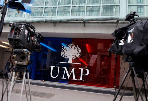 Le siège de l'UMP rue de Vaugirard, cerné de caméra de télévision en plein scandale Bygmalion en mai