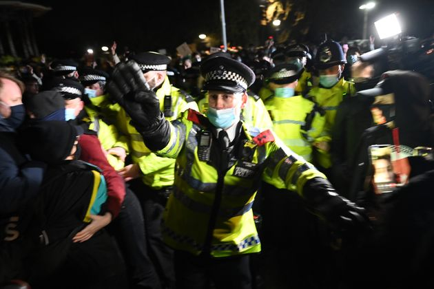 Police officers at the protest on Clapham