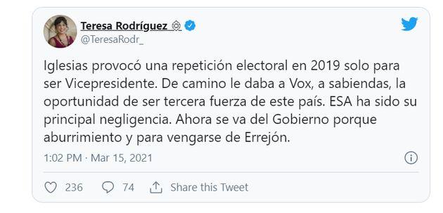 Teresa Rodríguez carga contra Iglesias y después borra el tuit: