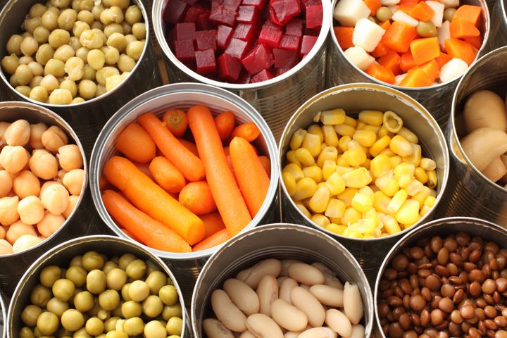 Canned vegetables and fruits are often available at the dollar store — and some stores have frozen options, which are even healthier.