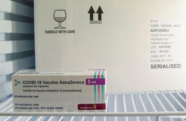 Un vaccin AstraZenecacontre le Covid dans le cadre d'une campagne de vaccination en Belgique, en...