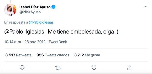 Tuit de Díaz Ayuso del 23 de noviembre de