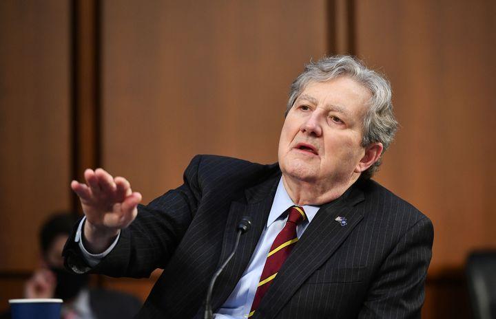 Senator John Kennedy (R-La.) speaks as FBI Director Christopher Wray testifies before the Senate Judiciary Committee on the J