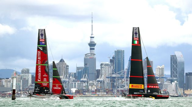Sailing - 36th America's Cup - Waitemata Harbour, Auckland, New Zealand - March 16, 2021 Emirates Team...