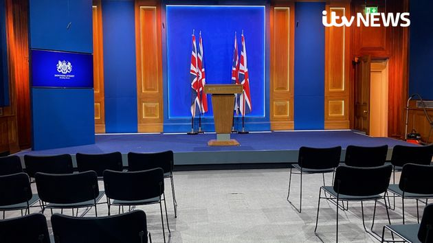 Undated handout photo issued by ITV News of Downing Street's new White-House style media briefing