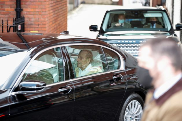 Prince Philip leaves King Edward VII's Hospital in London on Tuesday March