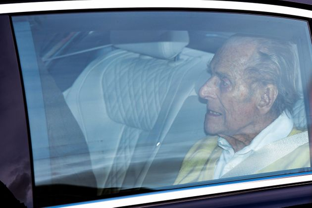 Prince Philip, Duke of Edinburgh is seen leaving King Edward VII Hospital on March