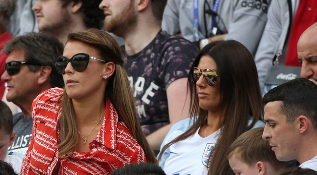 Coleen Rooney and Rebekah Vardy pictured in the stands of a Euro 2016 game around five years