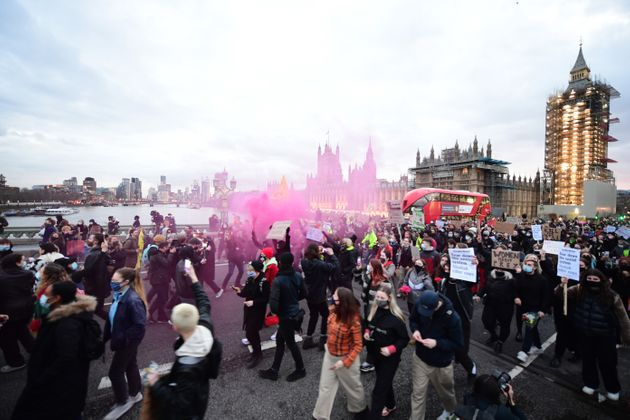 Demonstrators during a Reclaim the Streets protest on Westminster Bridge, central London, in memory of...