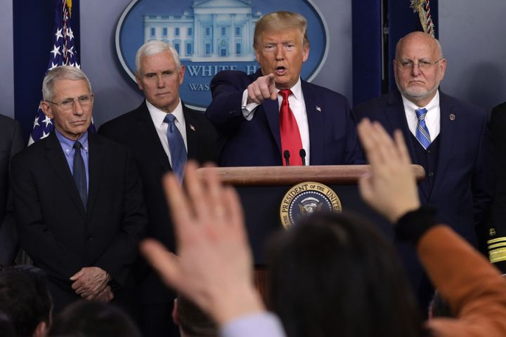 Then-President Donald Trump is seen speaking at a press conference in February 2020. A review of the Centers for Disease Cont