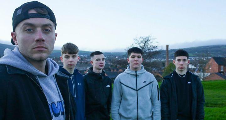 Roman Kemp meets a group of teenage boys in Belfast