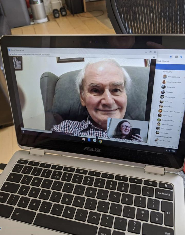 """This is a picture of my Grandad on his 87th birthday in July 2020. Having video calls with him throughout this past year has been such a comfort for me, and looking back on this photo and seeing him so cheerful always makes me smile. It also features his adorably hilarious DIY haircut! Usually his camera is pointed towards the ceiling (or if I'm lucky, I'll get a pair of eyebrows), so it's also quite a novelty to see his face properly."" – Natalie Keeler, 28, South London."