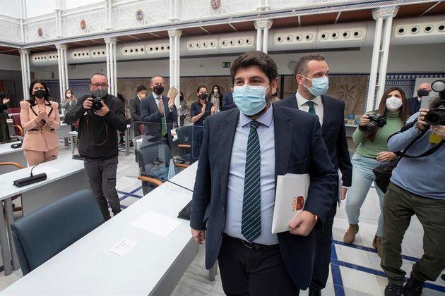 El presidente de Murcia, el popular Fernando López Miras, este miércoles en la Asamblea
