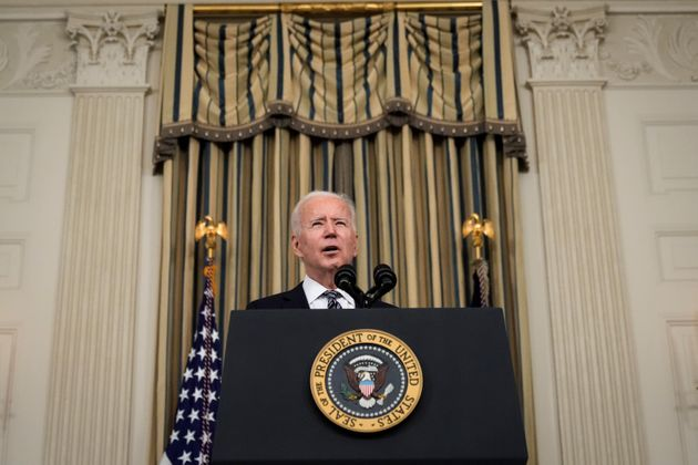 WASHINGTON, DC - MARCH 15: U.S. President Joe Biden delivers remarks in the State Dining Room of the...