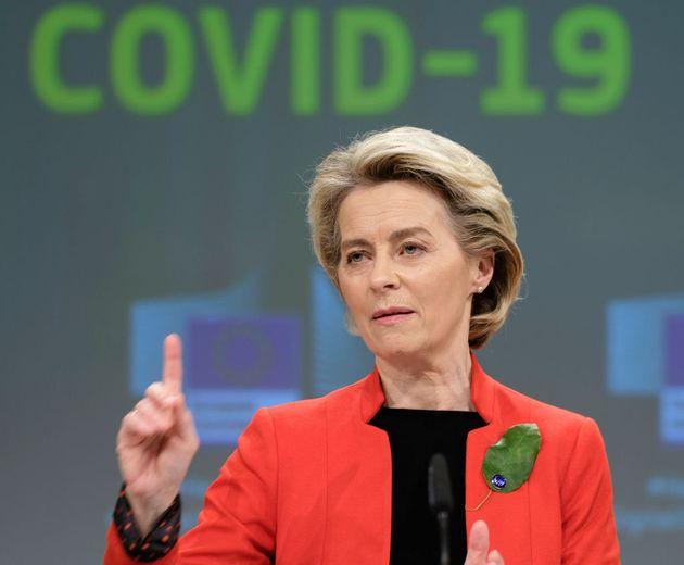 BRUSSELS, BELGIUM - MARCH 17: President of the European Commission Ursula von der Leyen speaks to the...