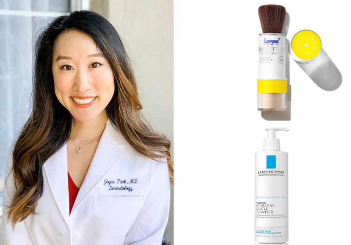 """Dr. Joyce Park with a couple of her favorite products: <a href=""""https://supergoop.com/products/mineral-setting-powder"""" target=""""_blank"""" rel=""""noopener noreferrer"""">Supergoop! (Re)setting 100% Mineral Powder SPF 35</a>&nbsp;and <a href=""""https://www.laroche-posay.us/face-and-body-skin-care/face-products/face-wash/toleriane-hydrating-gentle-facial-cleanser-tolerianehydratinggentlefacialcleanser.html"""" target=""""_blank"""" rel=""""noopener noreferrer"""">La Roche-Posay Toleriane Hydrating Gentle Cleanser</a>"""