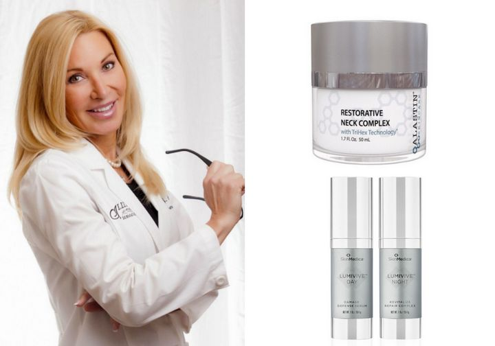 """Dr. Janet Allenby uses <a href=""""https://www.alastin.com/products/restorative-neck-complex"""" target=""""_blank"""" rel=""""noopener noreferrer"""">Alastin Restorative Neck Complex with TriHex Technology</a>&nbsp;and the <a href=""""https://www.skinmedica.com/products/correct/lumivive"""" target=""""_blank"""" rel=""""noopener noreferrer"""">SkinMedica Lumivive System</a>."""