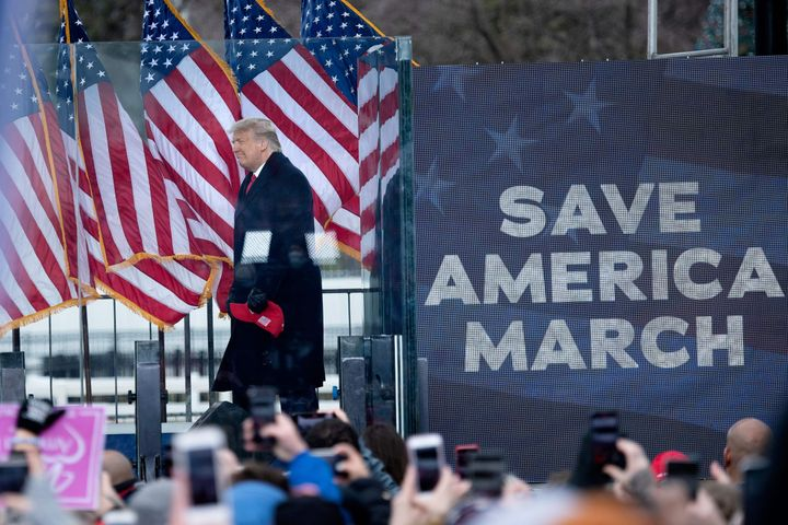 President Donald Trump arrives to speak near the White House on Jan. 6, soon before his supporters marched on the U.S. Capito