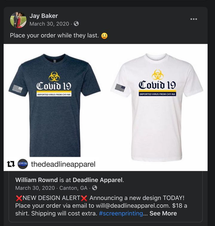 A screenshot of Cherokee County sheriff's Capt. Jay Baker promoting a T-shirt with a design insulting to the Asian community.